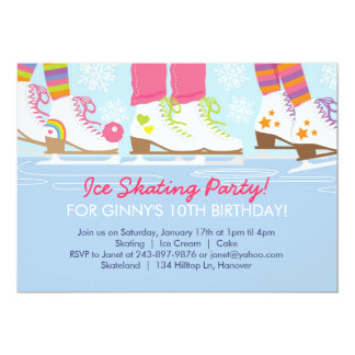 Ice Skating Party for Girls 13 Cm X 18 Cm Invitation Card