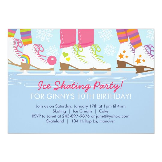 Ice Skating Party for Girls Card