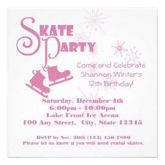 Ice Skating Party Personalized Invites