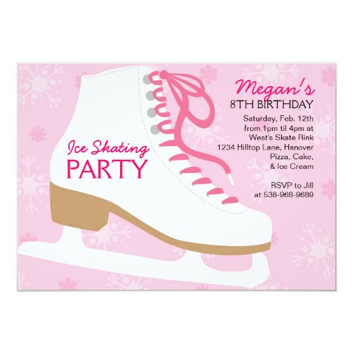 Ice Skating Party Invitations - Pink