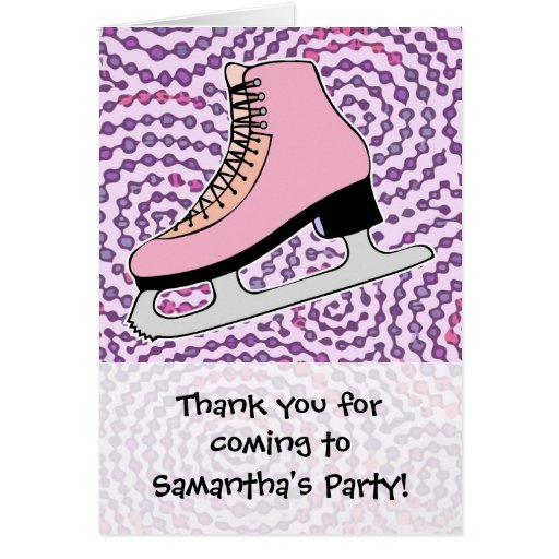Ice Skating Party, Pink Skate Cards