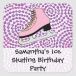 Ice Skating Party, Pink Skate Stickers
