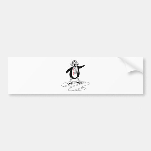 ICE SKATING PENGUIN BUMPER STICKERS