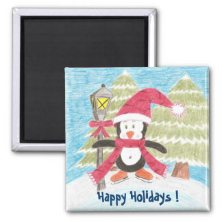 Ice skating penguin, Happy Holidays ! Square Magnet
