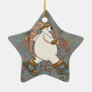 Ice Skating Polar Bear Holiday Ornament