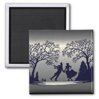 Ice Skating Pond - Silhouette Square Magnet