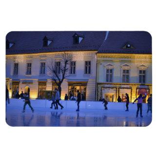 Ice skating rectangular magnet