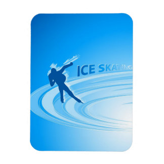 Ice Skating Rectangle Magnet