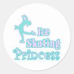 ice skating princess round stickers