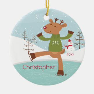 Ice Skating Reindeer Dated Christmas Ornament
