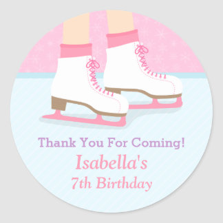 Ice Skating Rink Girls Birthday Party Decor Round Sticker
