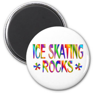 ICE SKATING ROCKS 6 CM ROUND MAGNET