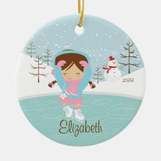 Ice Skating Skater Girl Dated Christmas Ornament