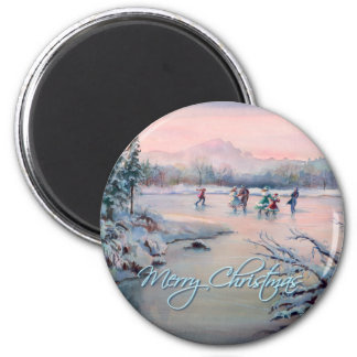 ICE SKATING & SNOWFLAKES by SHARON SHARPE 6 Cm Round Magnet