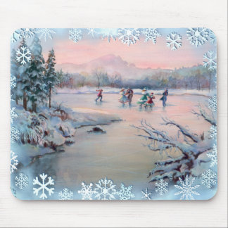 ICE SKATING & SNOWFLAKES by SHARON SHARPE Mouse Mat