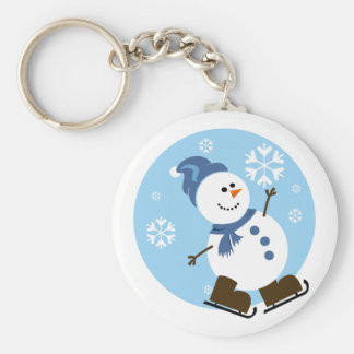 Ice Skating Snowman Basic Round Button Key Ring