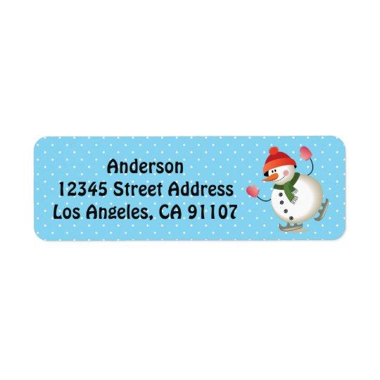 Ice Skating Snowman Return Address Labels