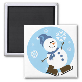 Ice Skating Snowman Square Magnet
