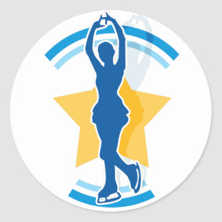 Ice Skating Star Classic Round Sticker