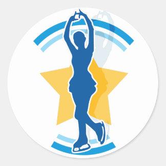 Ice Skating Star Round Sticker