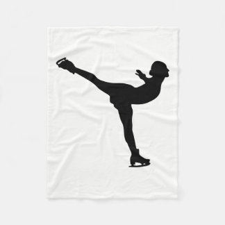 Ice Skating Woman Silhouette Fleece Blanket