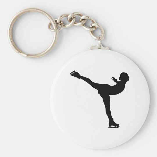 Ice Skating Woman Silhouette Key Ring