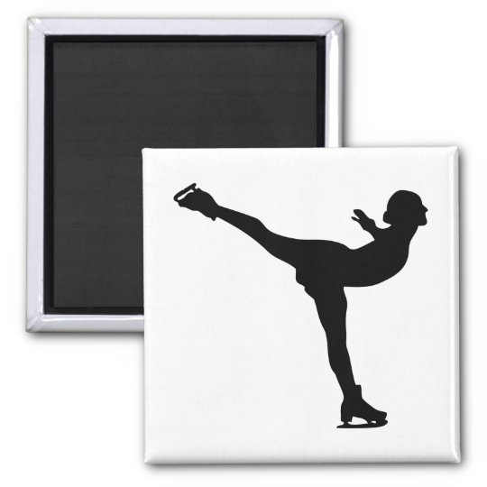 Ice Skating Woman Silhouette Magnet