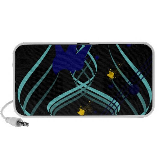 Ice Vectors on Pitch Black Doodle Travel Speakers