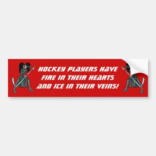 ice woman hockey player playing lady girl woman bumper stickers