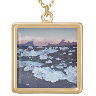 Iceberg formation on the beach gold plated necklace