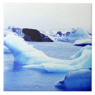 Icebergs at Jokulsarlon Lagoon Large Square Tile