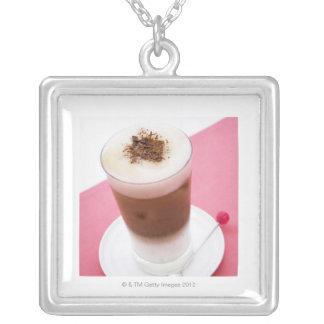 Iced Cappuccino Square Pendant Necklace