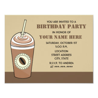 Iced Coffee Birthday Party Invitation