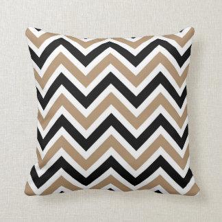Iced Coffee Black and White Chevron Stripe Cushion