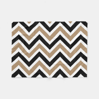 Iced Coffee Black and White Stripes Zigzags Fleece Blanket