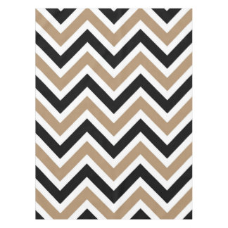 Iced Coffee Black and White Stripes Zigzags Tablecloth