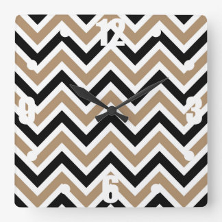 Iced Coffee Black and White Stripes Zigzags Wall Clocks