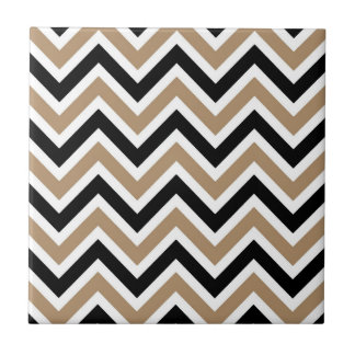 Iced Coffee Black and White Stylish Chevrons Small Square Tile