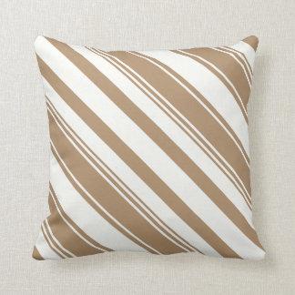 Iced Coffee Brown Diagonal Stripes Cushion