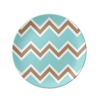 Iced Coffee Limpet Shell White Chevron Stripes Porcelain Plates