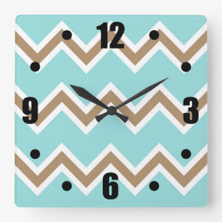Iced Coffee Limpet Shell White Chevron Stripes Wall Clocks