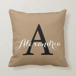 Iced Coffee Neutral Brown Tan Solid Color Monogram Throw Pillow