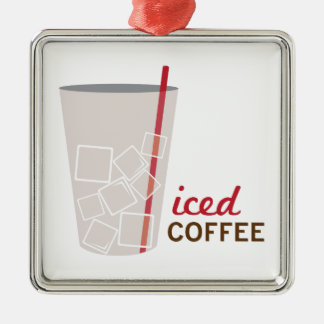 Iced Coffee Silver-Colored Square Decoration