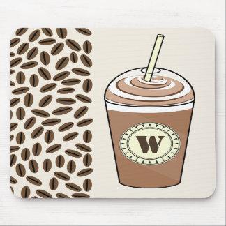 Iced Coffee To Go & Coffee Beans Monogram Mousepad