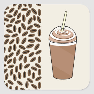 Iced Coffee To Go & Coffee Beans Square Sticker