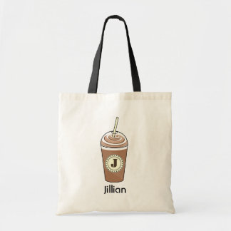 Iced Coffee To Go With Whipped Cream Monogram Budget Tote Bag