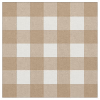 Iced Coffee & White Gingham Check Fabric