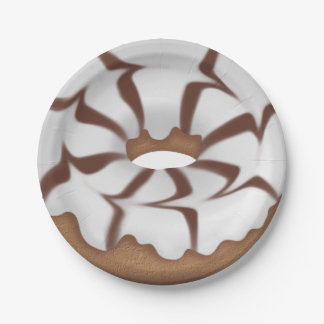 Iced Donut sweet treat paper plate