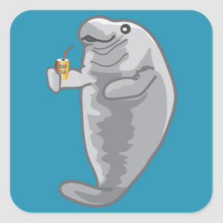 Iced Manatee - just chill Square Sticker