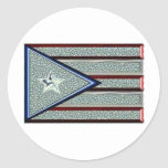 Iced Out Puerto Rican Flag Round Stickers